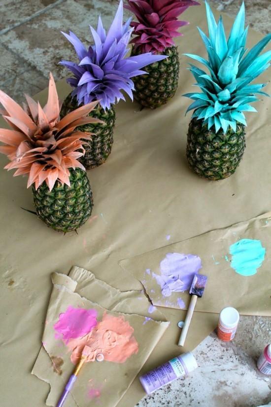 ananas bemalen tischdeko fasching ideen