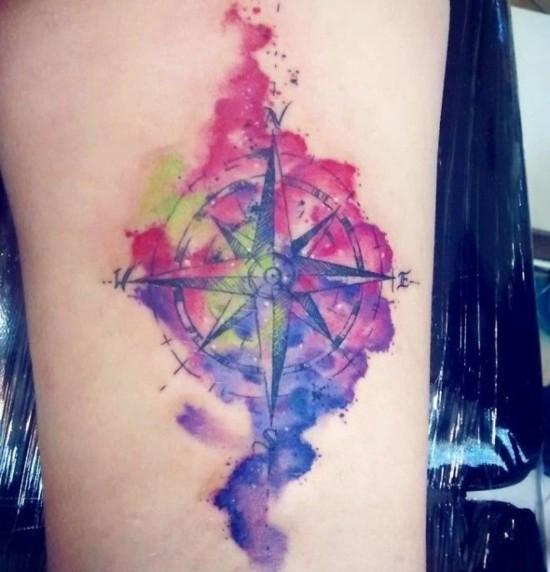 aquarell kompass wanderlust tattoo ideen