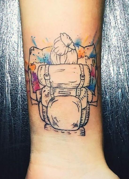 aquarell wanderlust tattoo ideen bunt