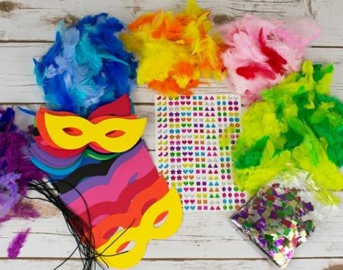 basteln mit kindern zu fasching masken selber machen