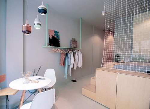 beige weiß und grau einzimmerwohnung einrichten
