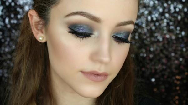 blau grüne smokey eyes schminken