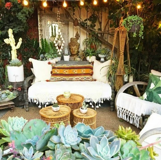 boho style garten terrasse einrichten
