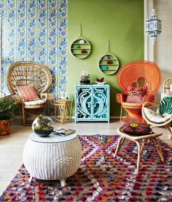 boho style pfauensessel ideen wohnzimmer