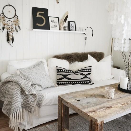 boho style puristisches wohnzimmer