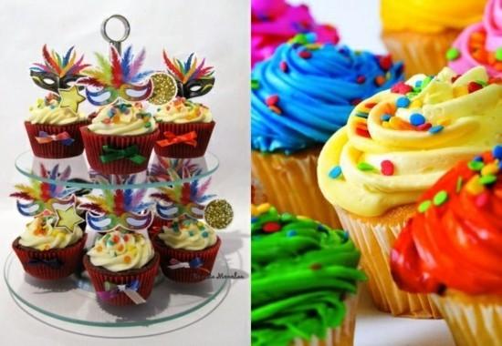 bunte cupcakes tischdeko fasching ideen