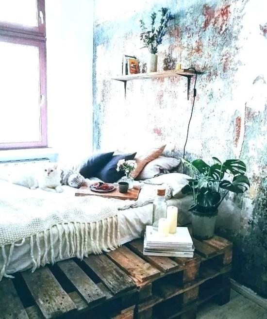 diy bett schlafzimmer im boho style