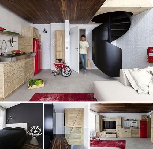 einzimmerwohnung einrichten rot weiß und scwarz