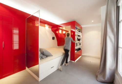 einzimmerwohnung einrichten rote wände