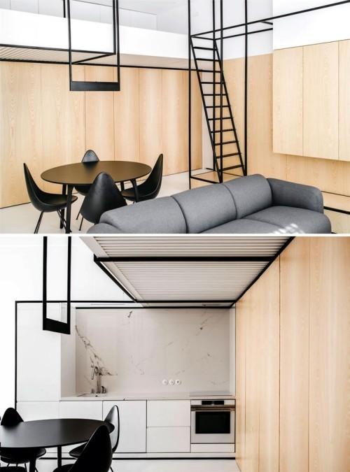 einzimmerwohnung einrichten schön beige und grau