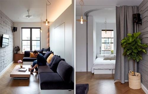 einzimmerwohnung verschiedene nuancen von grau