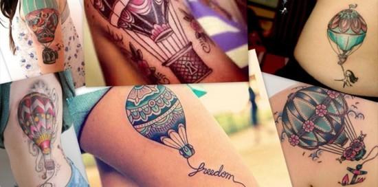 freedom wanderlust tattoo ideen heißluftballon