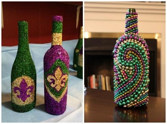 glitzer flaschen tischdeko fasching ideen
