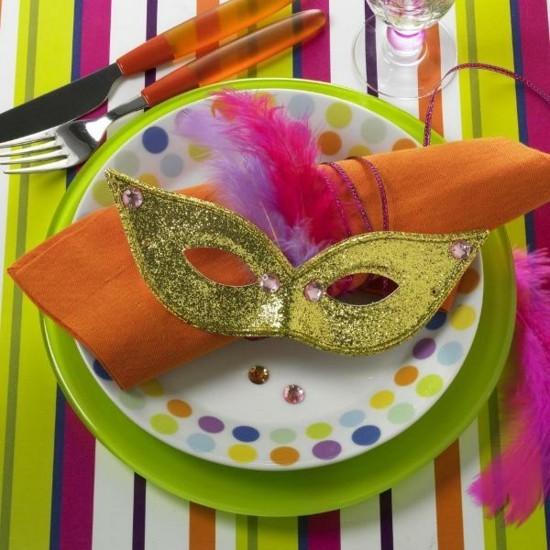 goldene maske tischdeko fasching ideen