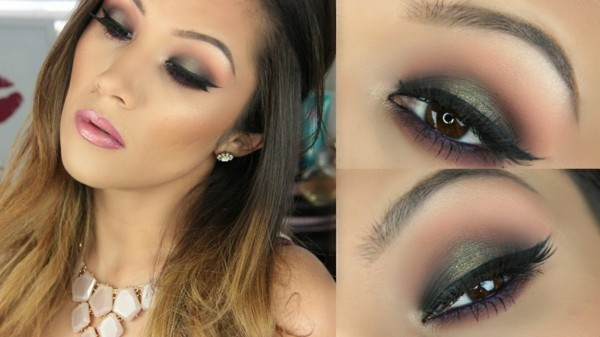 grün schimmer smokey eyes schminken