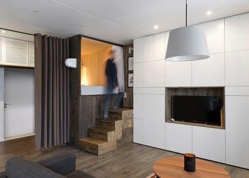 grau und holz einzimmerwohnung einrichten