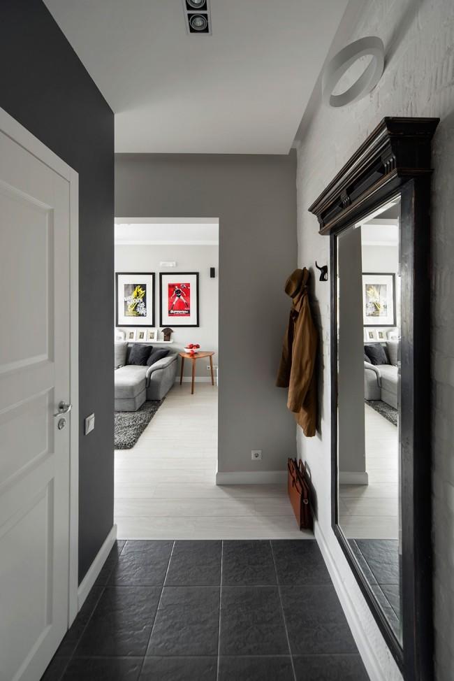 grau weiße Wände Flurgestaltung