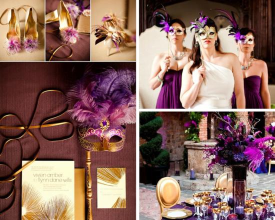 luxus tischdeko fasching ideen gold und federn