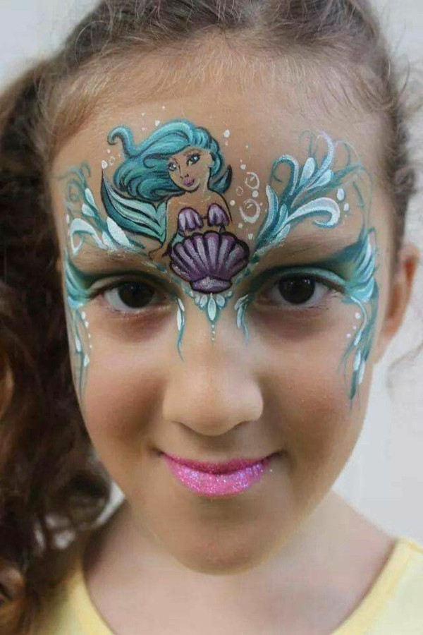 meerjungfrau schminken mädchen facepainting ideen