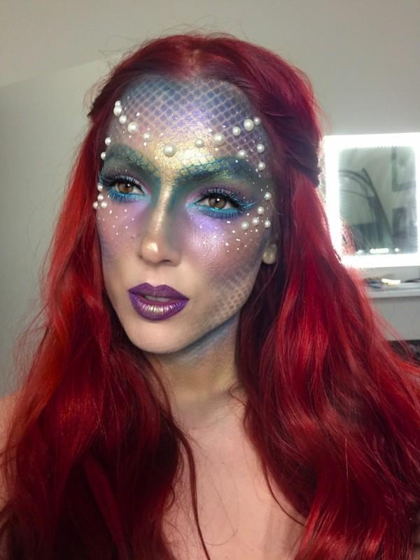meerjungfrau schminken mit perlen