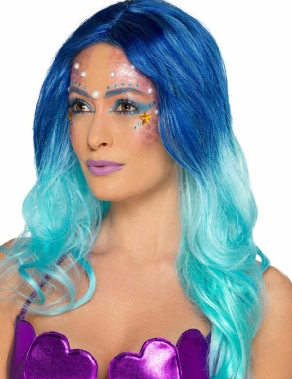 meerjungfrau schminken ombre haare blau