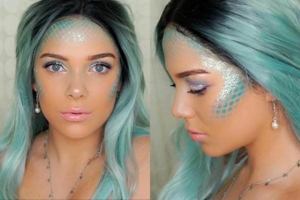 meerjungfrau schminken zum karnval blaue haare