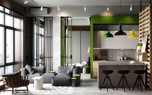 mehrere moderne farben einraumwohnung