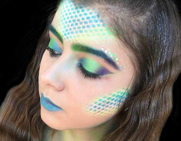 neon farben meerjungfrau schminken