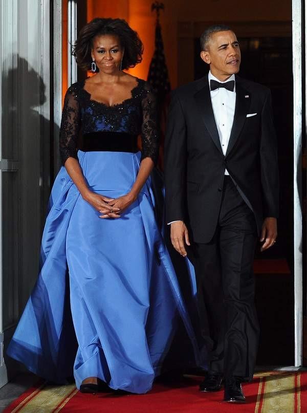 obama und der psäident kleid carolina herrera
