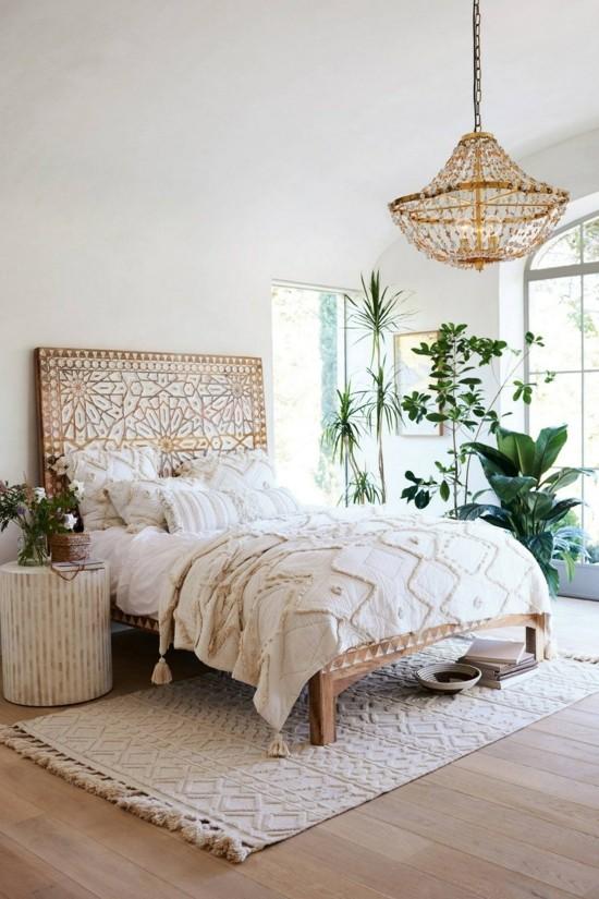 puristisches schlafzimmer im boho style einrichten