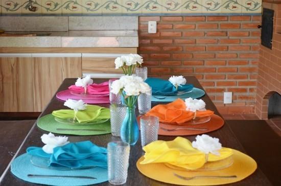 regenbogen servietten tischdeko fasching ideen
