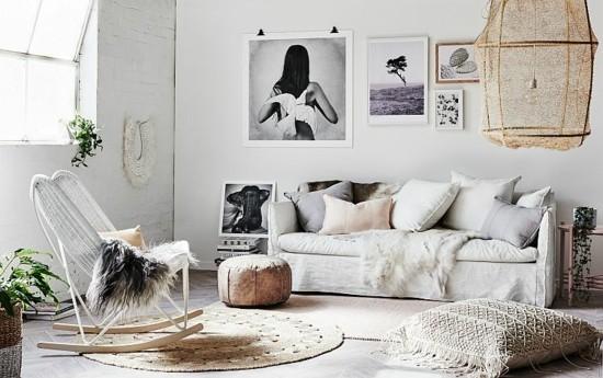 scandi boho style wohnzimmer