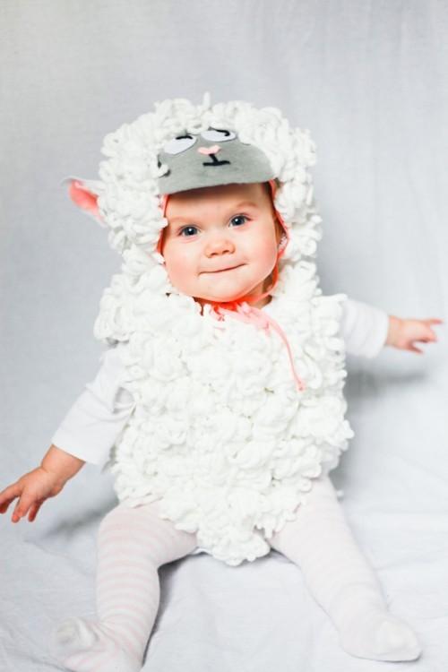 schaf baby karneval kostüm selber machen