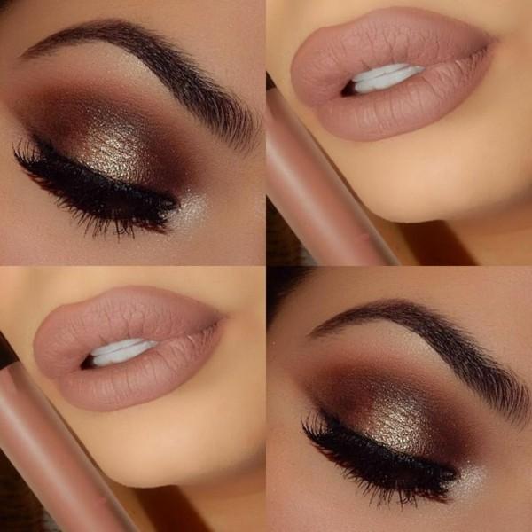 schimmer smokey eyes schminken nude lippenstift