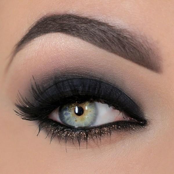 schwarz schimmer smokey eyes schminken