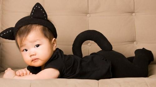 schwarze katze baby karneval kostüm