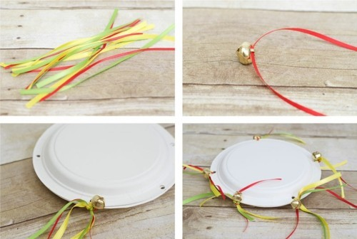 tambourine basteln mit kindern anleitung