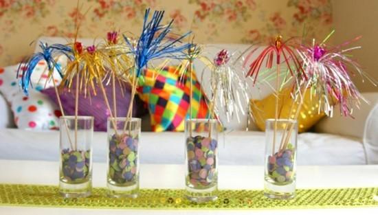 tischdeko fasching ideen konfetti cocktail deko