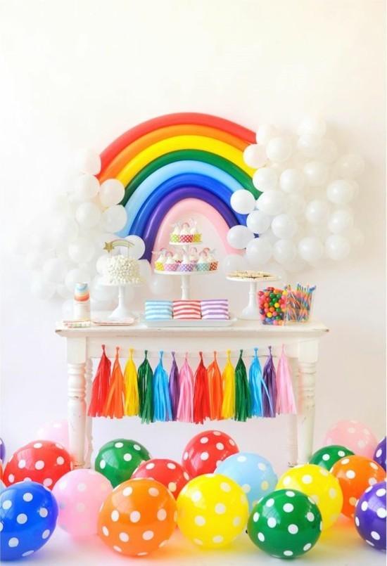 tischdeko fasching ideen regenbogen kindergeburtstag
