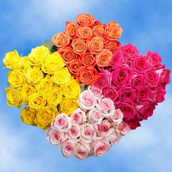 valentinstag ideen blumen vier farben