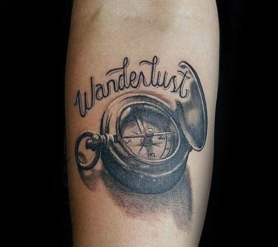 wanderlust tattoo ideen 3d kompass