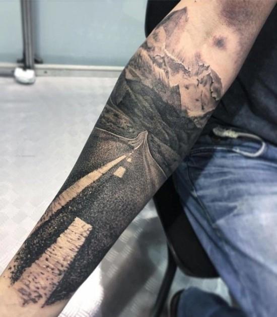 wanderlust tattoo ideen 3d weg