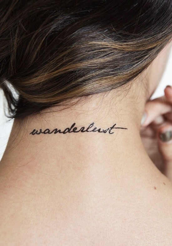 wanderlust tattoo ideen am nacken