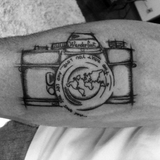 wanderlust tattoo ideen kamera