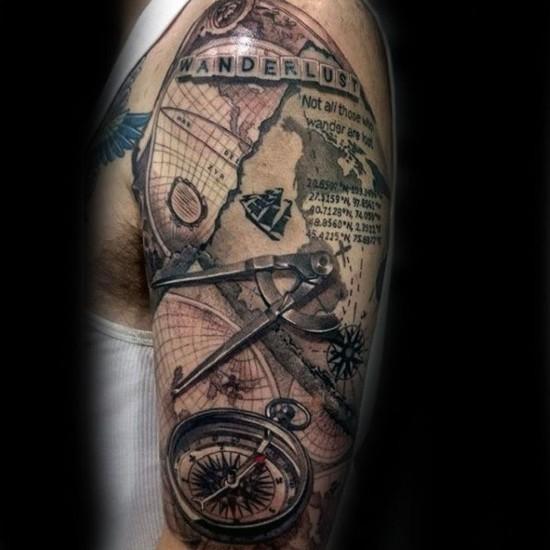 wanderlust tattoo ideen oberarm 3d