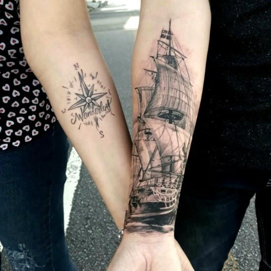 wanderlust tattoo ideen partnertätowierungen