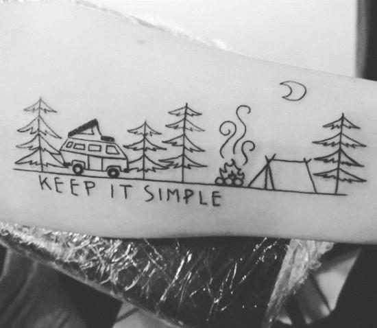 wanderlust tattoo ideen wohnwagen wald