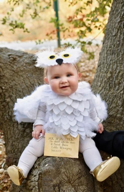 weiße eule baby karneval kostüm selber machen
