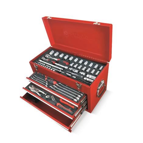werkzeugkoffer mit mehreren verschiedenen schubladen