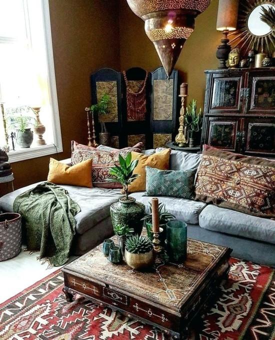 wohnzimmer boho style ideen